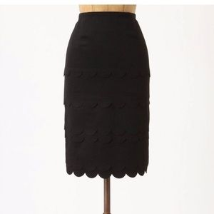 Anthropologie Maeve scalloped pencil skirt